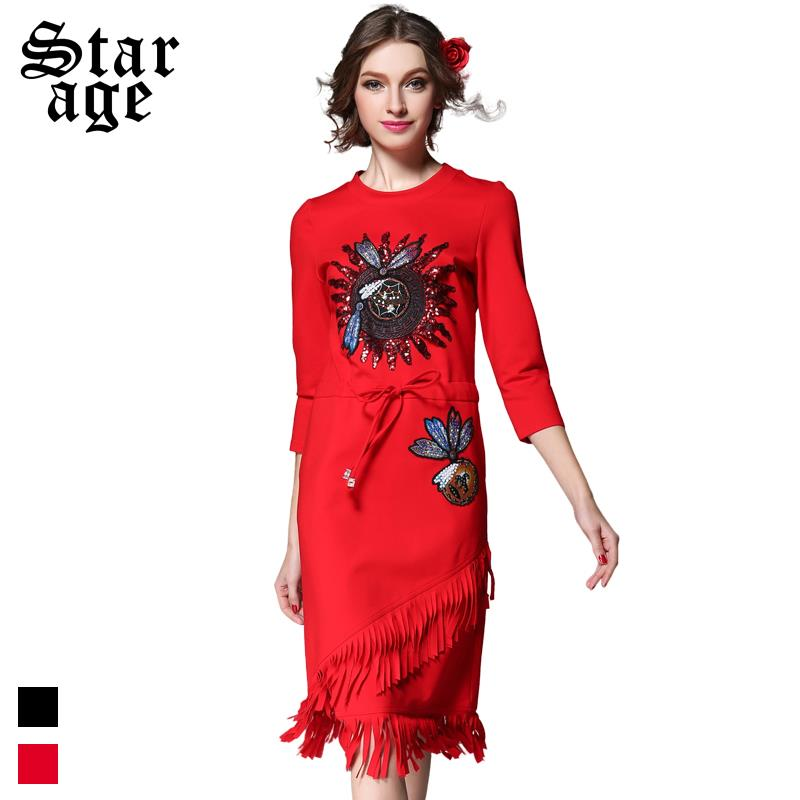 S~5XL Women Vintage Beaded Embroidery Tassel Dress Plus Size Ladies Party Dress 2016 Spring Fashion Brand Big Size Clothing 1917(China (Mainland))