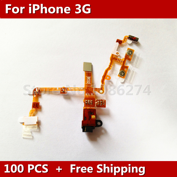 100pcs/lot Black NEW Headphone Jack + Power Button and Volume Flex Cable for iPhone 3G 3GS Free Shipping(China (Mainland))