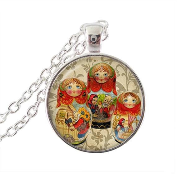 Ethnic-jewelry-matryoshka-necklace-red-babushka-dolls-pendant-charm ...
