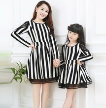 Fashion Stripe Dress Family Clothes Lace Patchwork Sleeve dress for Mother and Daughter Women/Girls Dress Spring/Autumn FL522