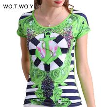2016 Summer Striped Print T-Shirt Women Anchor Graphic Tees Women Fashion Brand T-shirt Women S-XXXL T-shirt Polyester Tops 8203(China (Mainland))