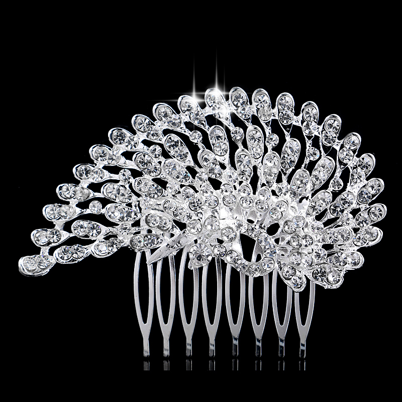 Stunning CZ Rhinestone Peacock Tiara Silver Plated Bridal Party Hair Comb Accessories Jewelry - Blue Stone store