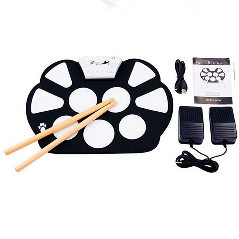 W758 Digital Portable Convenient 9 Pad Musical Instrument Electronic Roll-up Drum Kit