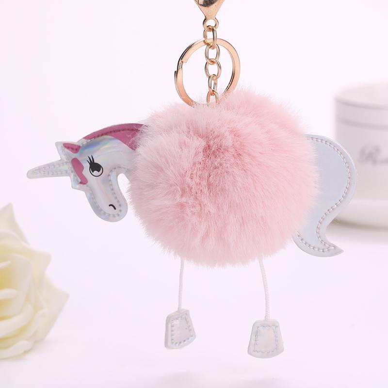 PINXIU NEW ARRIVAL Super Cute Rainbow Horse Unicorn Fluffy Fur Pom Keychain Pendant Bag Charms Handbag Accessory Purse Ornament(China (Mainland))