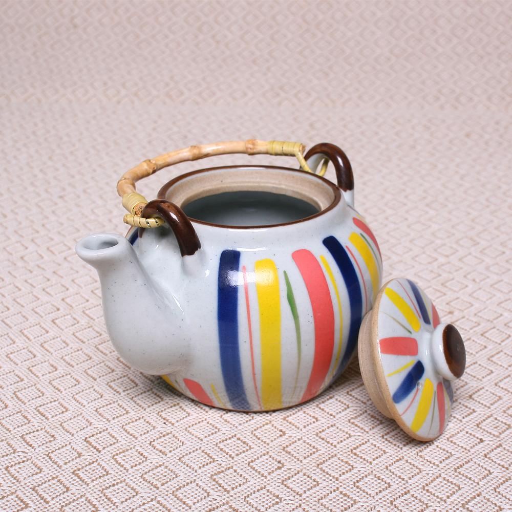 CoffeeTea Sets HandPainted Stoneware Vintage Glazed Tea Kettle Teapot With Woven Handle Tea Pot Tea Infuser(China (Mainland))