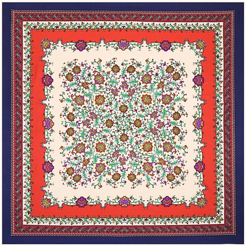 Europe Brand Silk Scarf Flora Print Square Scraves And Shawls Burb Designer New Born Wrap Flowers Women Bandana Muslim Hijab(China (Mainland))