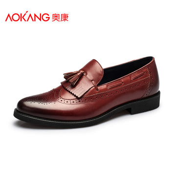 Aokang 2015 New Arrival Brogues Shoes Men Leather Men Oxfords Tassel British Vintage Brogues Oxford Shoes Flat Heel Shoes