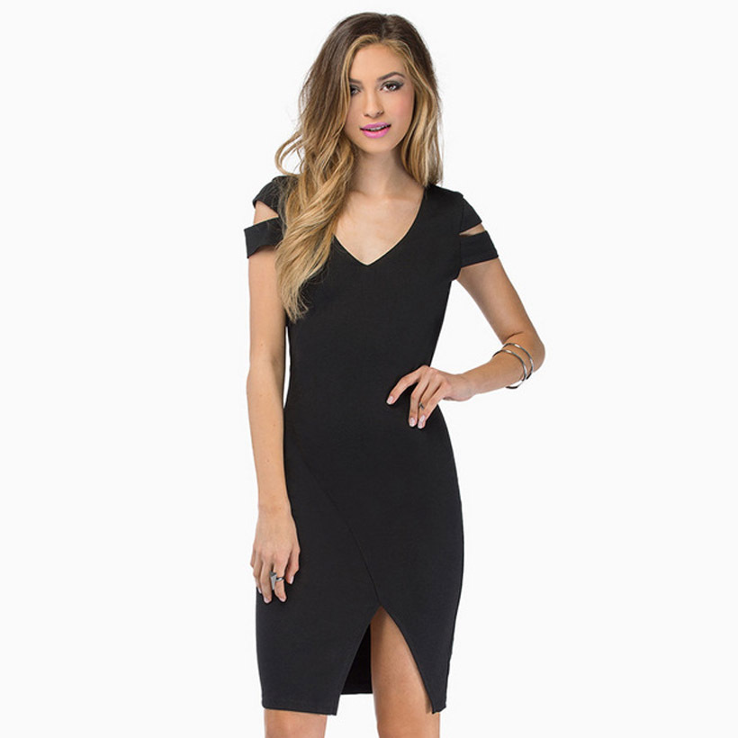 SKY 2015 Women's New Fashion Open shoulder irregular short-sleeved solid stretch back before the unilateral split invisible(China (Mainland))