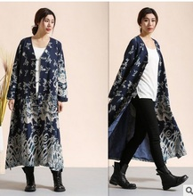 2016 Women's spring and autumn National trend original chinese style dragon design fluid collarless outerwear medium-long trench