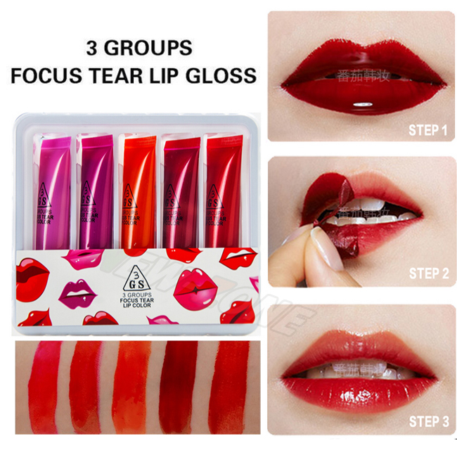 5 Colors Set Tear Lip Gloss Long Lasting Lip Color Tint Tattoo Waterproof Peel Off Lipstick Women Makeup