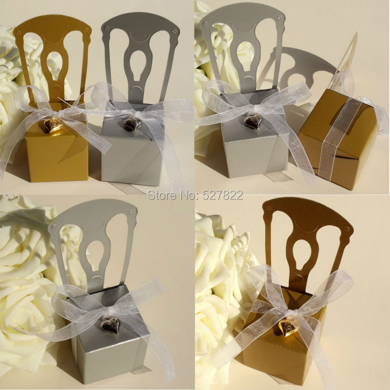 1000PCS Gold and Silver Chair Wedding Party Favors Boxes Baby Shower Gift Box Candy Box with White Ribbon Free Shipping By Fedex(China (Mainland))