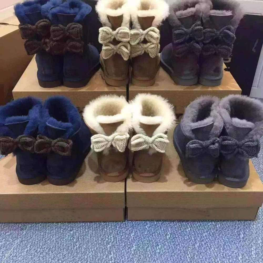 Australia sheep skin with wool brand design fur boots with bowtie warm shoes for women girls(China (Mainland))