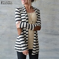 Oversized 2016 Spring Autumn Women Casual Cotton Blend Striped Thin Coat Cardigan Jacket Ladies Casual Loose