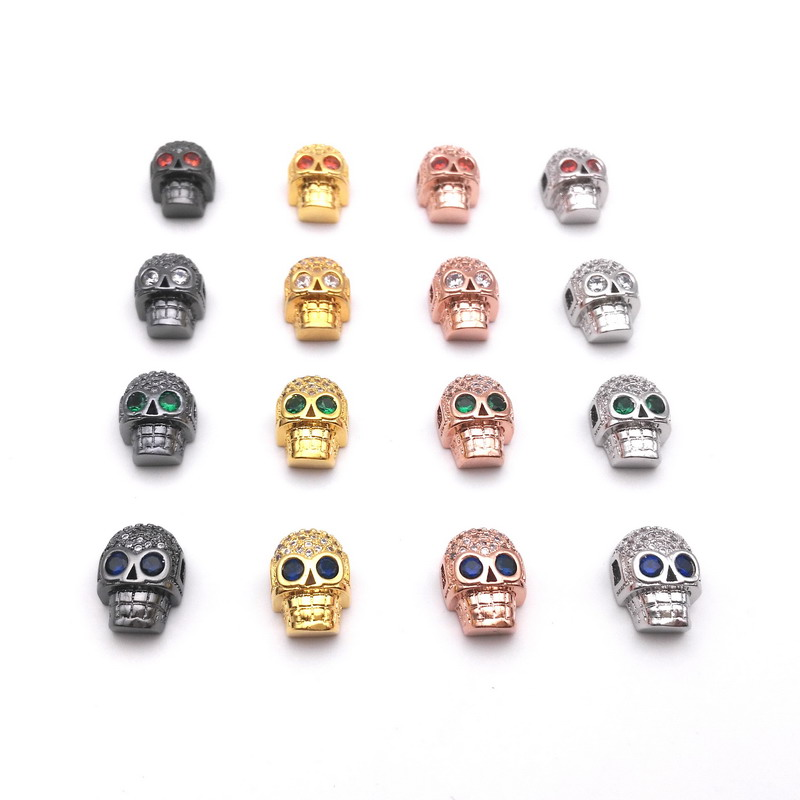 10 pcs/lot Wholesale! 16 Colors Red Eye/White Eye/Blue Eye/Green Eye CZ Skull Beads Jewelry Accessories Beads for Jewelry Making(China (Mainland))