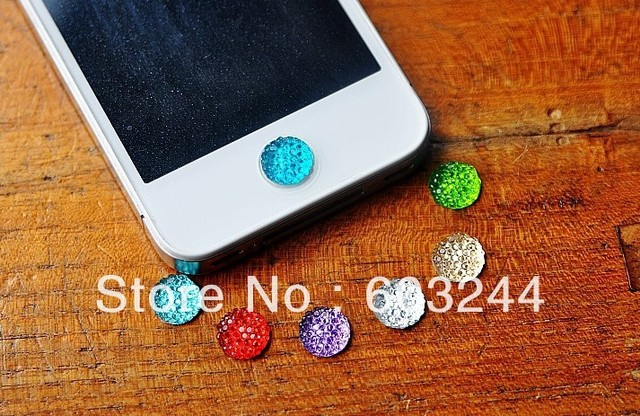 Free Hong Kong Post 100pcs Sparkling Bling Crystal Home Button Sticker for Cell Phone iPhone 3G 5 4S Xmas Gift