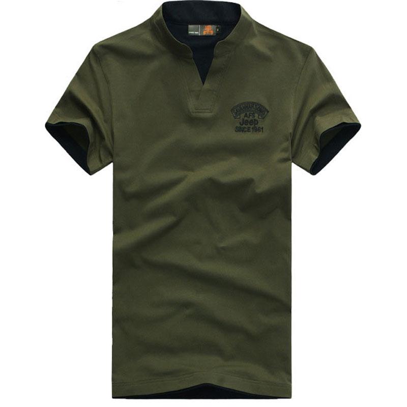 free shipping men v neck short sleeve t shirt green army green and black colors plus size M L XL XXL XXXL t shirt men 45(China (Mainland))