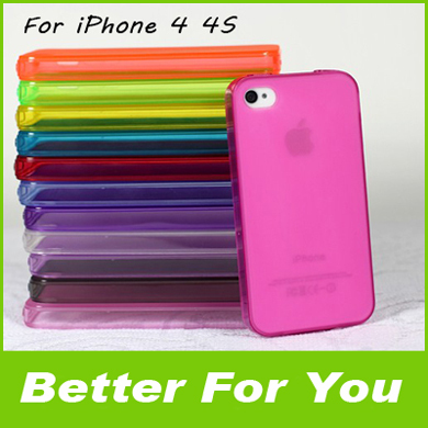 New 100pcs/l Transparent TPU Case With Dust Proof Plug Gel Silicone Matte Cover Pouch Skin For iPhone 4 4G 4S,DHL Free Shipping(China (Mainland))