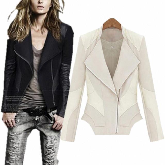 Womens Faux Leather Spliced Biker Zipper Jackets Coat Women Jaqueta Bolero Clothes Specials Us Size cascos feminios free shipp