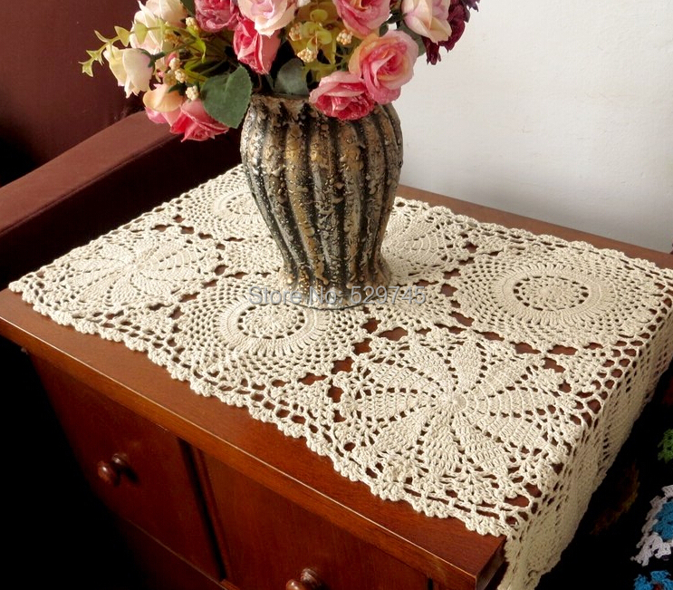 Handmade Crochet flowers Rectangular tablecloth Hollow weave Cotton Cover cloth Coffee Doilies Sofa towel Bedside cover cloth(China (Mainland))