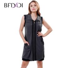 BFDADI 2016 женские платья без рукавов с отложным воротником сращивания молния кардиган леди свободного покроя платье Большой размер 5xl 3328(China (Mainland))