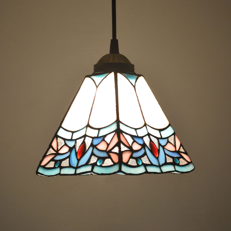 Tiffany Pendant Light Stained Glass Shade Art Deco Style Dining Room Decor Hanging Lamp E27 110-240V(China (Mainland))