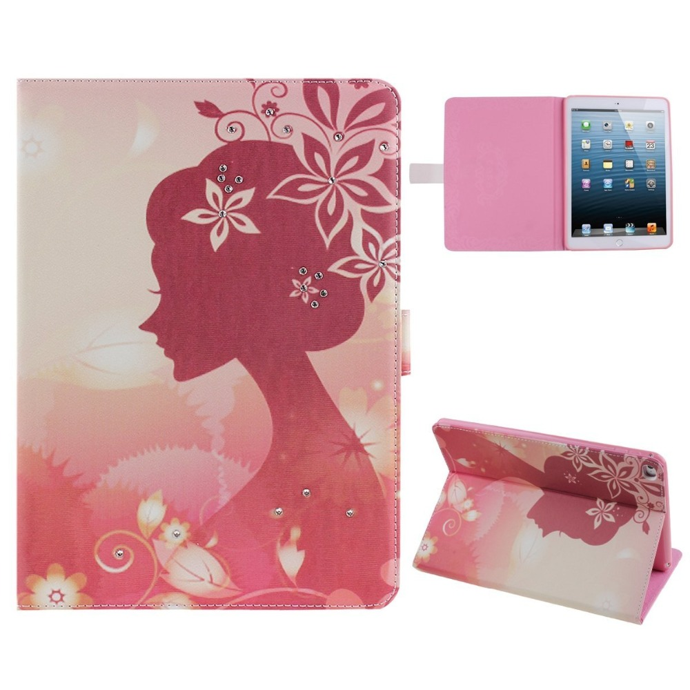 For iPad Air 2 (iPad 6) Case Cover Girls Flower Series Inlaid Glitter Diamond Pu Leather Book Stand Case for iPad Air 2 Coque(China (Mainland))