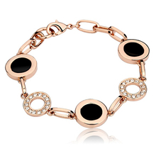 New Fashion Circle Trendy Bracelets For women Rose Gold/Platinum Plated Vintage Rhinestone Black Ceramic Style UVOGUE Jewelry(China (Mainland))