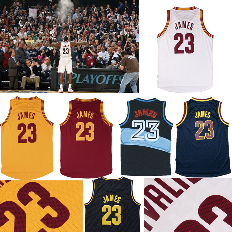 Cleveland James All Styles Jerseys ,Cleveland 23 Lebron James White Red Yellow Throwback Basketball Jersey ,Embroidered logos(China (Mainland))