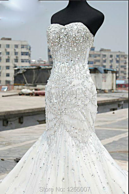 Fashion sweetheart sparkly beaded diamond glitter for Diamond mermaid wedding dresses