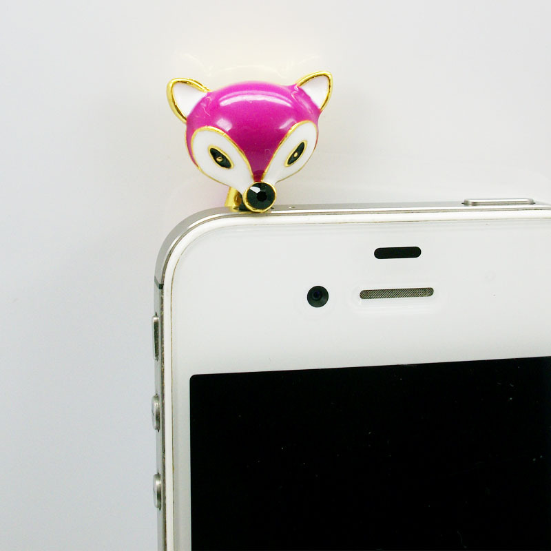 Fashion New arrival Free shipping 5pcs/lot 3.5mm fox Earphone Dust Plug Cap dust proof and decorate the phone(China (Mainland))