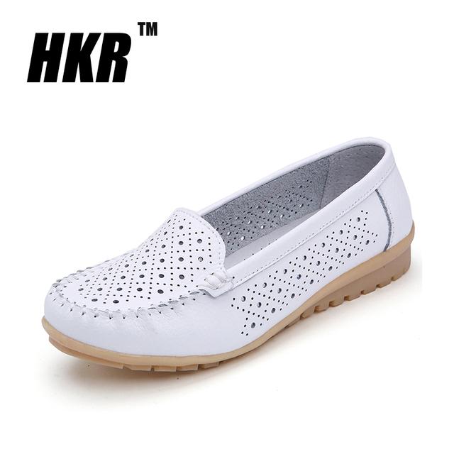 Hkr 2016 весенние квартир женщин обувь из натуральной кожи женщина вырез мокасины ...