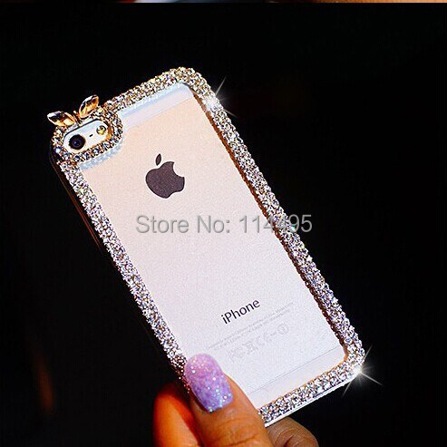 luxury Crystal Rhinestone Bumper shining carcasa Bling Case iPhone5 5s 4s 6 plus 5c Diamond capa Cover sony C1905 - creagua store