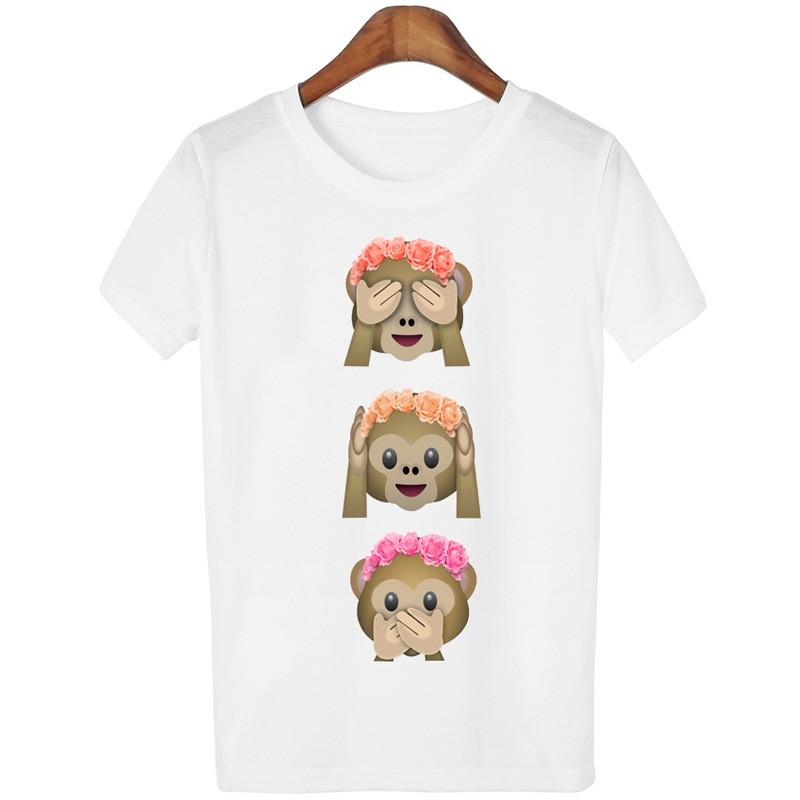 2016 Casual Tshirt Women T-shirt Kawaii Emoji Print Monkey Women T Shirt Short Sleeve Tee Shirt Femme Camisetas White Tops