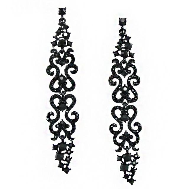 Винтаж черный серьги длинные девушку аксессуары ювелирные изделия кристалл длинные серьги с камни стразы ers-h20