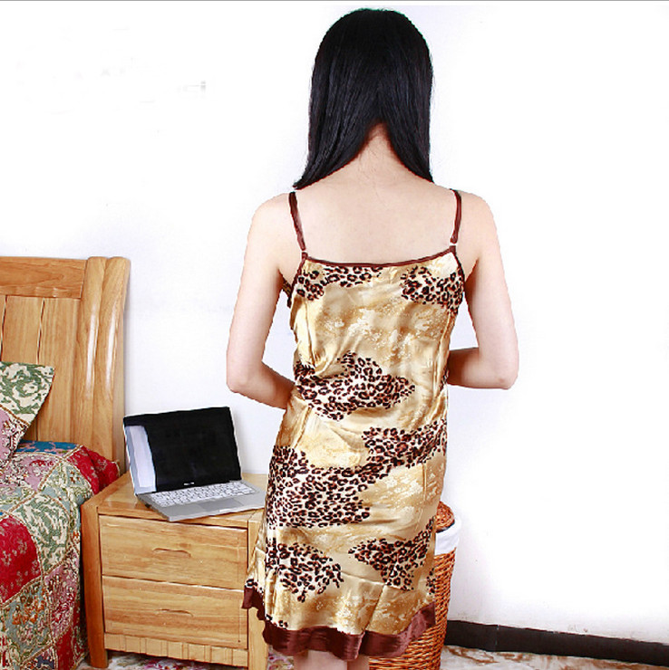 2015 Chinese summer autumn women's pajamas new arrival women's silk leopard Symphony silk dress super sexy sling silky pajamas(China (Mainland))