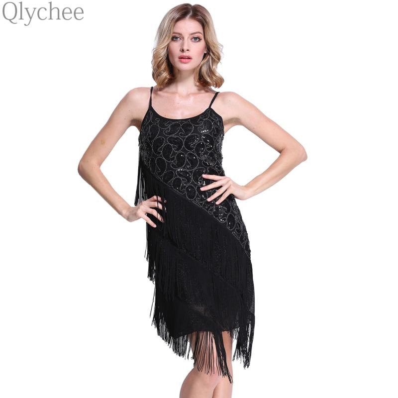 XXL Vintage Black Lace Sequin Tassels Dress Bodycon Gatsby Dress Ball Costume Women Off Shoulder Straps Mini Dress(China (Mainland))