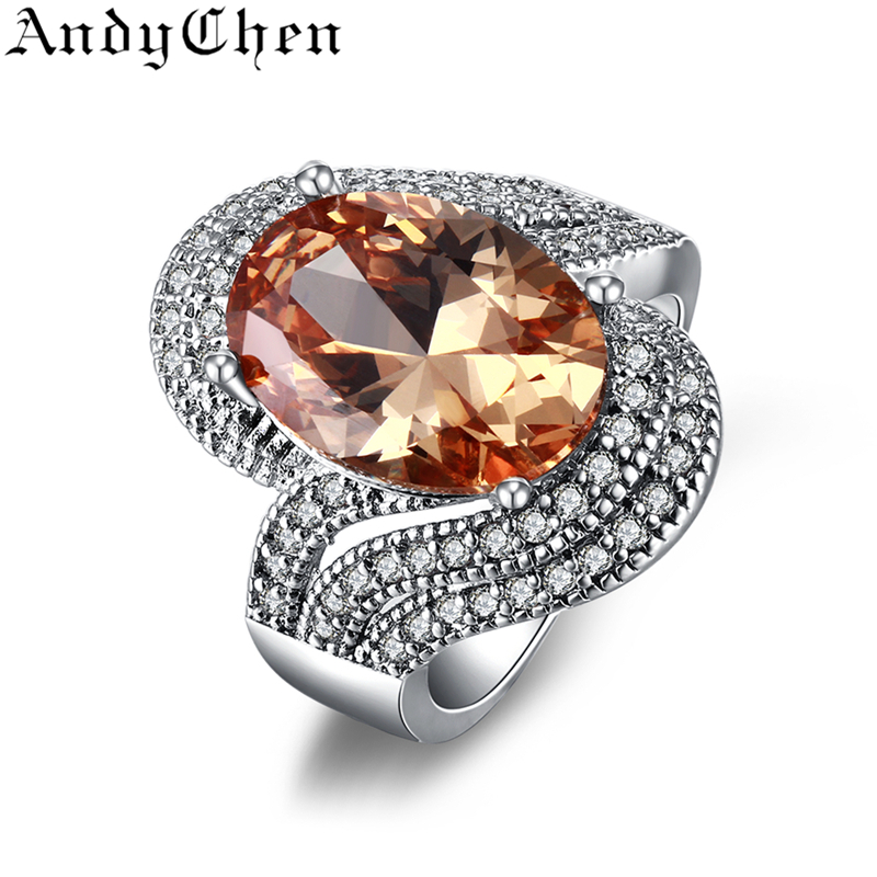 Amber Stone 925 Silver Filled Trendy Wedding Rings for Women Crystal Jewelry Bijoux Femme Engagement Bague Accessories ASR240(China (Mainland))