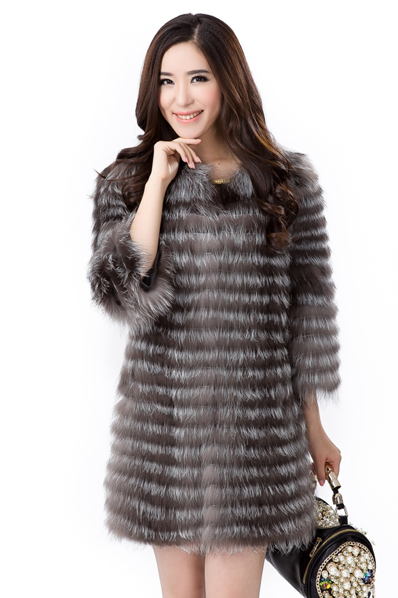 New 2013 Womens Fashion Coats Jacket Fur Real Silver Fox Hair Coat Fur Women 3/4 Sleeves Design Fast DeliveryОдежда и ак�е��уары<br><br><br>Aliexpress