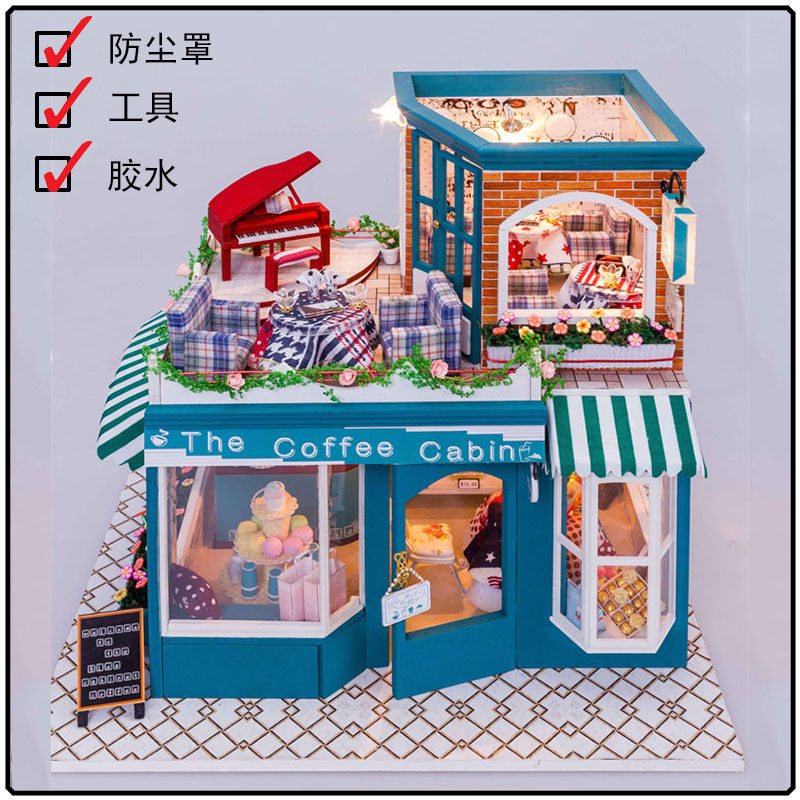 Hongda large European coffee shop DIY wooden doll house miniatures dollhouse miniature kit store D013<br><br>Aliexpress