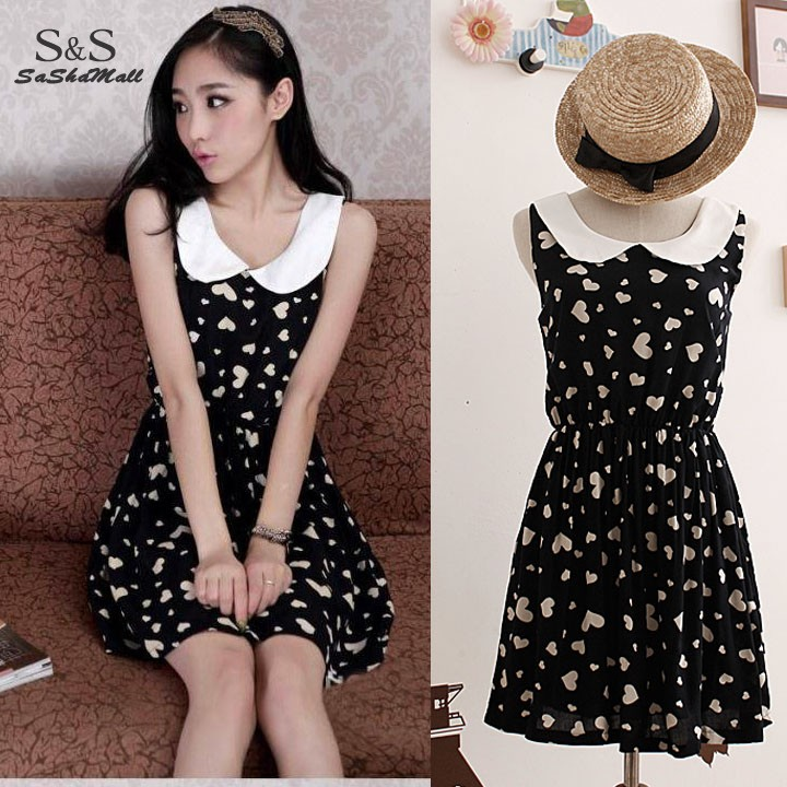 It is not the song of the rain[L] Women-summer-dress-lady-Cute-Sleeveles-Doll-Collar-Dress-Slim-One-piece-Floral-Vest-Dress-12