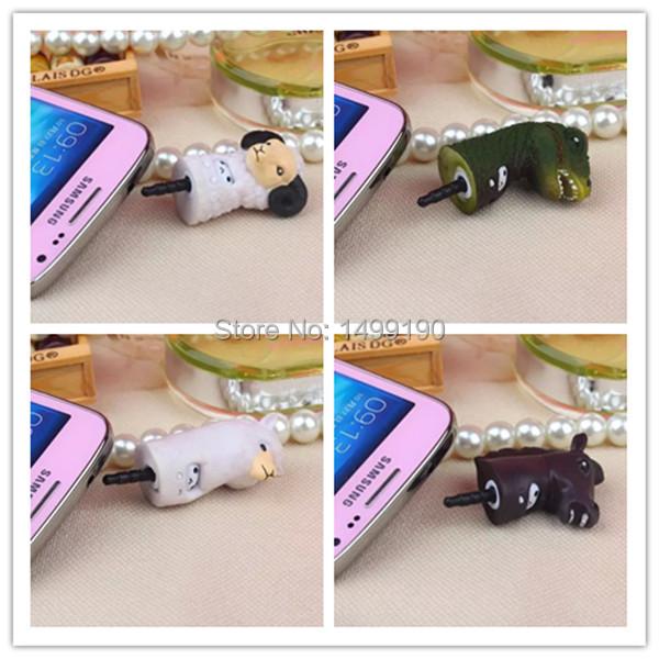 1 Pc Newest Lovely Universal 3.5mm Cosplay Animal Head Plastic Dust Plug Earphone Jack Plug Headset Cap 5 Types Free shipping(China (Mainland))