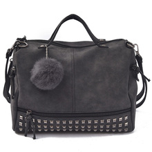 Buy 2016 New Arrive Rivet Women Shoulder Bag Fur Ball Nubuck Leather Handbags Vintage Women Handbag Motorcycle Shoulder Bags for $18.35 in AliExpress store
