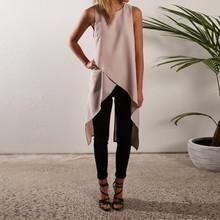 Plus Size Fashion Summer 2016 Women Sleeveless Asymmetric Hem O Neck Long Top Solid Chiffon Style Blouses Blusas Feminin(China (Mainland))