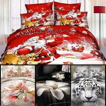 Cotton 3D Oil Animal bedding set king bed linen sheets set,quilt/duvet cover set Santa Christmas Claus rose bedding sets Queen(China (Mainland))