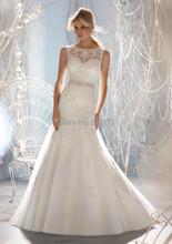 Neue Design Vestidos De novia A-Line Sheer Ausschnitt Embelished Mit Kristall Perlen Tüll und Spitze Hochzeitskleid 2016 Brautkleider(China (Mainland))