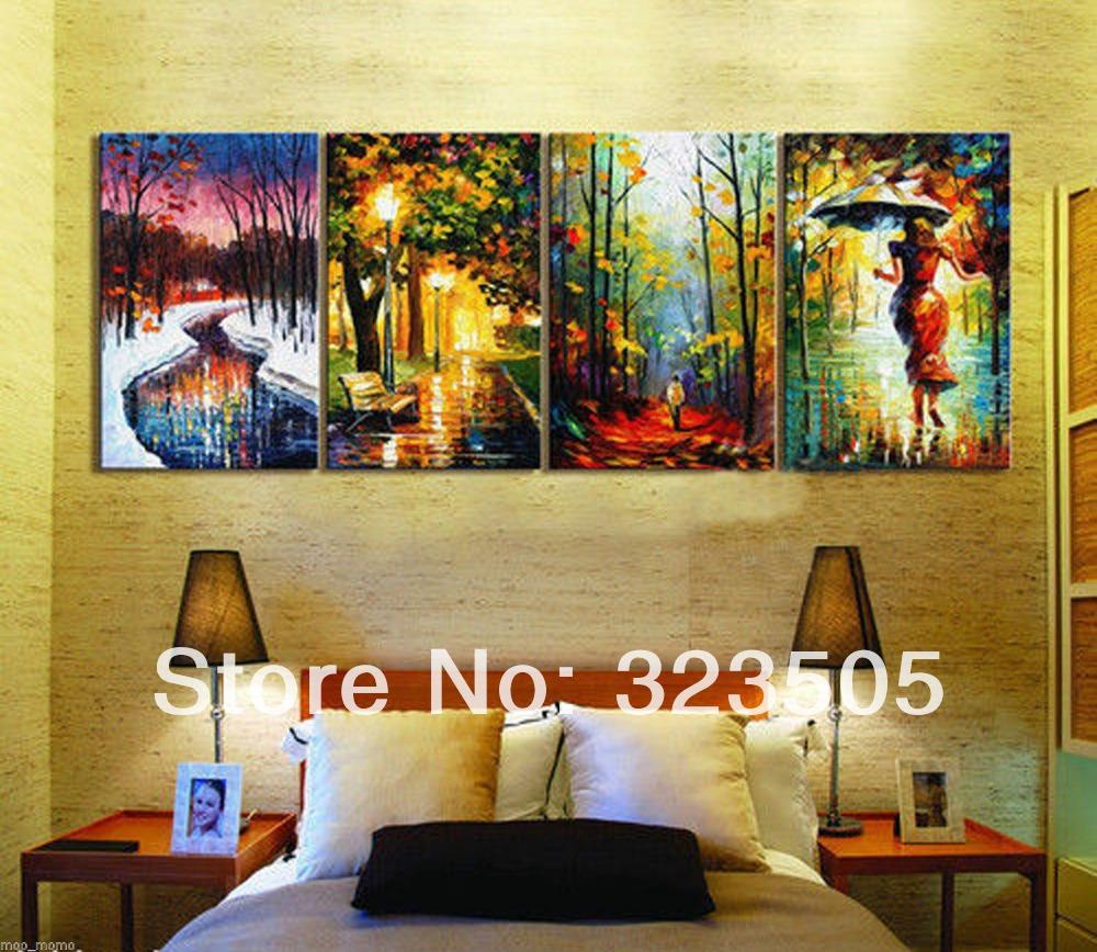 4 panel grande de la lona wall art abstract four season for App decoracion hogar