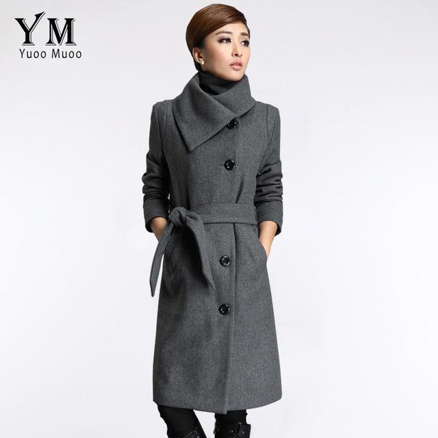 YuooMuoo Новые Длинные Куртки Женщины Серый Шерстяное Пальто Высокого Качества плюс Размер Пончо женская Мода Кашемировые Пальто с Поясом Женщина пальто