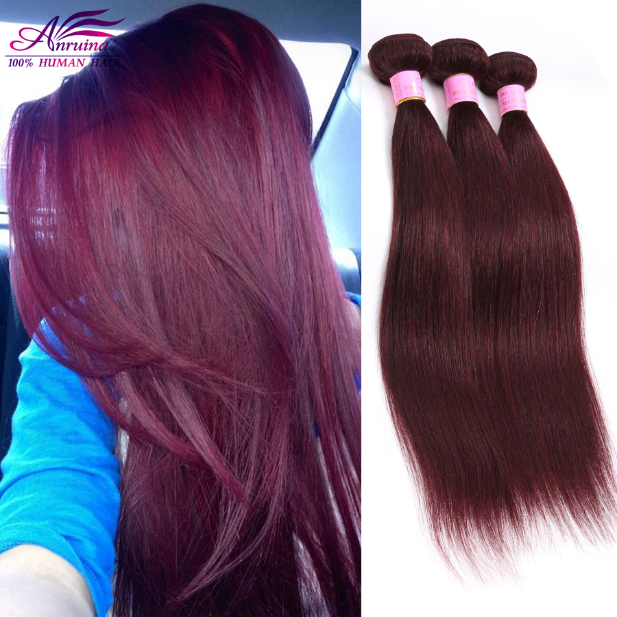 Color Burgundy 7A Grade Indian Remy Straight Hair Extension, Cheap 99J Indian Real Human Hair Weaves 3 Pieces For Black Women(China (Mainland))