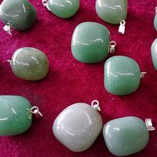 20PCS 15-20MM Jade Natural Green Aventurine Semi-precious Stone Jewelry Necklace Pendants(China (Mainland))