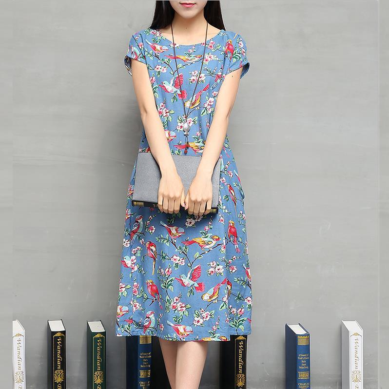 Beautiful Print Cotton Ethnic Dress Women China Style 2016 New Summer Long Dresses Short Sleeve O-neck Loose National Robe Dress(China (Mainland))